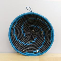 Handwoven Grass Bowl Handwoven Basket Teal Blue and by Ubushobozi