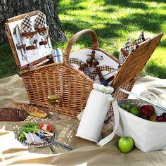 Picnic at Ascot Huntsman Huntsman Basket for 4 w/Coffee Set & Blanket -Gazebo Picnic Basket Set, Picnic Bag, Picnic Time, Summer Picnic, Picnic Ideas, Picnic Blanket, Picnic Hampers, Picnic Cooler, Picnic Parties
