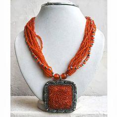 Orange Pendant Necklace/Bib Necklace/Statement by FootSoles, $23.90
