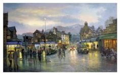 Ambleside by Twilight Signed Print by Graham Twyford Cumbria, Lake District, Twilight, Online Printing, Contemporary Art, Original Paintings, Art Gallery, Street, Graham