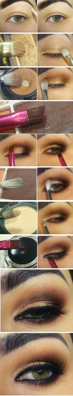 Gold and Brown Inspired Makeup Tutorials - Step by Step