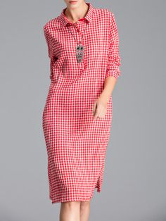 Elegant Checkered/Plaid Cotton-blend Midi Dress