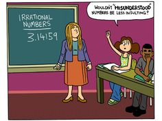 """Tim and Moby introduce you to the difference between rational and irrational numbers. Remember, kids: Fractions put the """"ratio"""" in """"rational""""! Science Projects For Kids, Science For Kids, Math Games, Math Activities, Real Number System, Junior High Math, Scientific Notation, Irrational Numbers, Math Courses"""