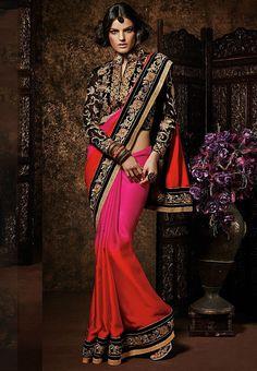 Orange Color Satin Saree - Rs. 2625.00