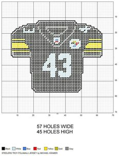 Pittsburgh Steelers Troy Polamalu NFL Football Jersey plastic canvas pattern by Michael Kramer.use with the change color. Plastic Canvas Coasters, Plastic Canvas Ornaments, Plastic Canvas Crafts, Plastic Canvas Patterns, Plastic Craft, Christmas Ornaments, Football Crafts, Nfl Football, Pittsburgh Steelers Logo