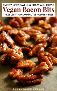 Satisfy your cravings with these easy vegan bacon bits! They're smoky. They're sweet. They're spicy. And they literally take 2 minutes to prep and 5 minutes to bake. Enjoy on baked potatoes, salads, and straight into your mouth. Vegan Appetizers, Vegan Snacks, Vegan Vegetarian, Vegetarian Recipes, Healthy Recipes, Vegan Food, Vegan Bacon Bits Recipe, Snacks Sains, Calories