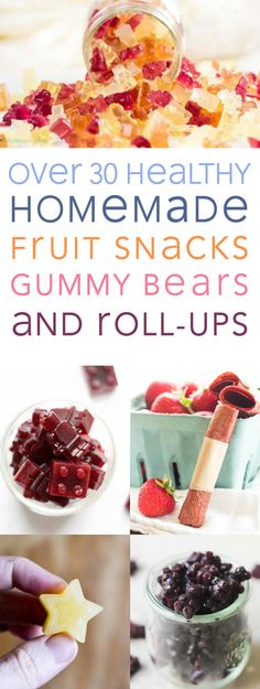 Over 30 delicious recipes for healthy homemade fruit snacks, gummy bears, and roll-ups to stick your kid's lunch box! All 100% paleo and GAPS-diet friendly!
