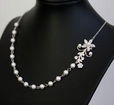 White Pearl Bridal Necklace, Vintage Rhinestone Flower, simple wedding necklace,  Wedding Jewelry Violet.