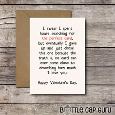 THE PERFECT CARD / Romantic Valentine's Day Card by BottleCapGuru