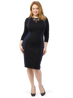 Long Sleeve Colorblock Dress In Black & Navy
