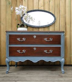 Unusual Buffet With 2 Deep Drawers, French Provincial Style, Dark Stained  Wood And Slate