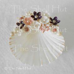 Seashell Flowers Soap Jewelry Dish Real Shell Pink White Purple Beach Wedding