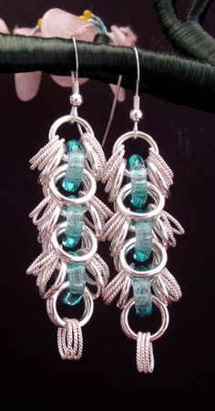 Aqua+and+Sterling+Silver+Shaggy+Loops+Chainmaille+by+CaptiveRingz,+$30.00