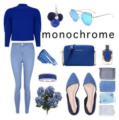"""""""Monochrome: Blue sky"""" by martinadlc ❤ liked on Polyvore featuring MICHAEL Michael Kors, Nine West, Paper London, New Look and By Terry"""