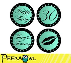 Instant Download Lip turquoise Black 30th Birthday by PeekaOwl 60th Birthday Cupcakes, 30th Birthday Favors, 30th Birthday Parties, Birthday Ideas, Pearl Cupcakes, Favor Tags, Cupcake Toppers, Champagne, Turquoise