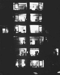 Illuminated building at night, Aart Klein, 1960s