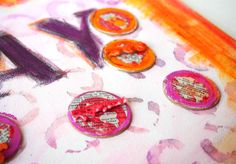Paint Lids Stencil by Dina Wakley Sparked This Canvas