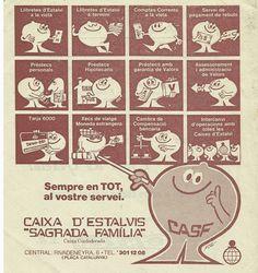 """detall publicitat """"Caixa d'Estalvis Sagrada Família"""" Barcelona anys 70"""