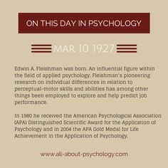 10th March 1927. Edwin A. Fleishman was born. An influential figure within the field of applied psychology, particularly I/O psychology.  #EdwinAFleishman #psychology #AppliedPsychology #MotorBehavior #GeorgeMasonUniversity #AmericanPsychologicalAssociation #APA