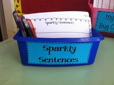 "I post a different picture each week and students write one asking and one telling sentence about the picture.  The goal is to make them ""sparkle"" by adding details and checking for capitalization, punctuation, and spelling.  Students write the sentence in pencil first and after proofreading are allowed to make it ""sparkle"" by tracing over it with the gel and glitter pens."