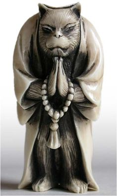 Fox Priest Praying with Mala Beads Netsuke Signature: Yuji, Early 19th Century