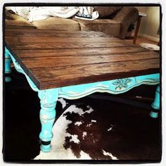 Coffee table redo...I wanted something bright, but I kinda like this too.