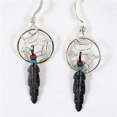 Native American Dreamcatcher earrings by Brave Design £12.00 available from http://www.melburygallery.co.uk/shop/earrings/brave-turquoise--red-bead-silver-dreamcatcher-earrings.htm