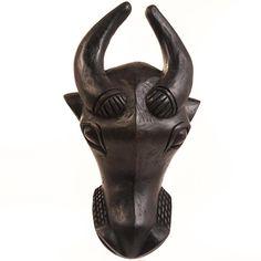 African Masks Tribal Ceremonial - Bamileke Buffalo Mask<br>12 ...