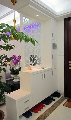 Room Divider Ideas and Partition Design as Element of Decoration Art Home Design Ideas Living Room Partition, Room Partition Designs, Living Room Divider, Living Room Decor, Partition Ideas, Living Rooms, Decor Room, Shoe Rack Living Room, Partition Walls