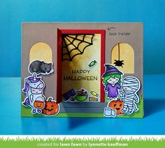 "Pair Lawn Fawn Costume Party with Shut the Front Door! When the door opens you see the Halloween treats and the Lawn Fawn Cute Cobweb! More the prompt from Push Here so the recipient knows to ""look inside""!"