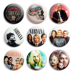 Nirvana Pinback Button Pin Badge (Pack of 9)- 1 inch