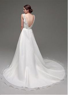 Buy discount In Stock Gorgeous Organza Satin & Lace Scoop Neckline A-Line Wedding Dresses With Rhinestones at Dressilyme.com