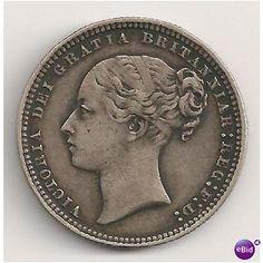 1875 Queen Victoria One Shilling Silver Coin X-Fine