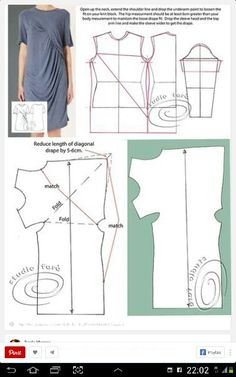 Great dress and pattern Sewing Patterns Free, Free Sewing, Clothing Patterns, Dress Patterns, Pattern Dress, Top Pattern, Techniques Couture, Sewing Techniques, Diy Clothing