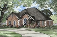 HOUSE PLAN 110-00573 – This one story Southern house design features a low maintenance brick exterior with beautiful window views and vaulted front covered porch. The interior floor plan offers approximately 2,486 square feet of living space with a large open floor plan, four bedrooms and three baths.