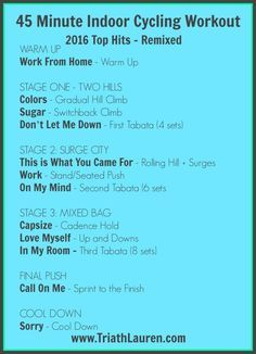 45 Minute Indoor Cycling/Spinning Workout - 2016 Top Hits Remixed #Spinning #TriathLauren #IndoorCycling #Workout #Cardio #WorkoutPlaylist #Playlist