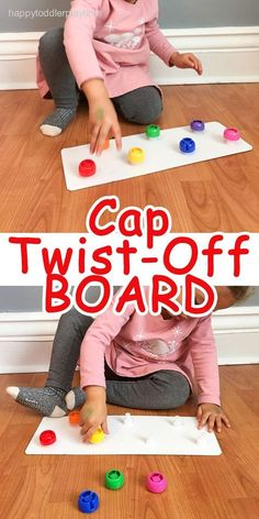 TWIST-OFF BOARD Looking for a great fine motor skill for toddlers? This cap twist-off board is an easy entertaining activity to help develop toddlers problem solving and fine motor skills. Perfect indoor quiet activity that will keep kids busy for hours. Toddler Play, Toddler Learning, Toddler Preschool, Baby Play, Learning Activities, Activities For One Year Olds, Toddler Teacher, Quiet Time Activities, Toddler Games