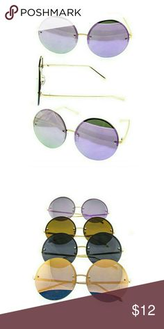 Round Retro Rimless Flat Sunglasses Amp up the day with these blazing hot new flat round rimless sunglasses that come with UV400 protection lenses. One size fits most.  ~PRICE FIRM UNLESS BUNDLED Accessories Sunglasses