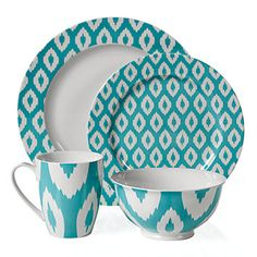 Aquamarine Kenza dinnerware for an uplifting experience every time you serve a meal. These dishes were created in porcelain, printed in a pattern derived from popular Ikat textile designs. The pattern varies in size and application on each piece to create a more interesting place setting.