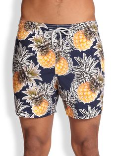 bda38fd4bb Vilebrequin Pineapple Print, Swim Shorts, Fancy Pants, Printed Shorts,  Drawstring Waist,