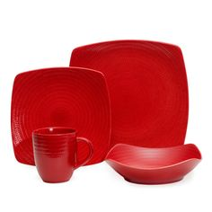 $87 - @Overstock.com - Red Vanilla Red Rice 16-piece Dinnerware Set - Set a stunning table with this 16-piece dinnerware set from Red Vanilla. This vibrant red stoneware has graceful lines and curves and a gently textured surface for a thoroughly modern look, and they're microwave and dishwasher safe.   http://www.overstock.com/Home-Garden/Red-Vanilla-Red-Rice-16-piece-Dinnerware-Set/7731375/product.html?CID=214117 $63.89