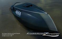 Futuristic Yacht: Tumblehomez Cruiser Design By Daniel Nätterdal Retro Futuristic, Futuristic Design, Yacht Design, Boat Design, Speed Boats, Power Boats, Cigarette Girl, Vintage Boats, Old Boats