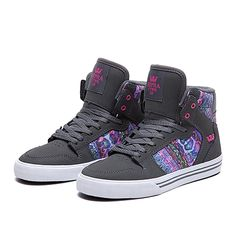 SUPRA KIDS VAIDER | CHARCOAL / PRINT - WHITE | Official SUPRA Footwear Site