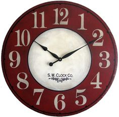 Large vintage red wall clock