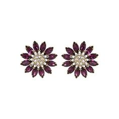 Miu Miu Flower crystal-embellished earrings ($290) ❤ liked on Polyvore featuring jewelry, earrings, accessories, purple multi, studded jewelry, stud earrings, flower stud earrings, miu miu and flower jewelry