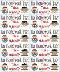 No Homework Pass Coupon | already have a no homework pass for one piece of homework. This can ...