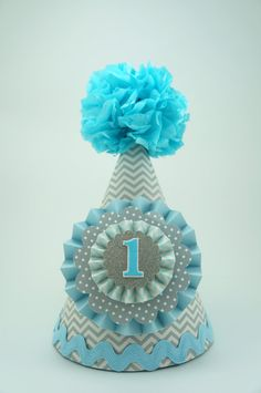Gray & Blue Chevron Party Hat, Boys 1st Birthday Party Hat on Etsy, $16.50