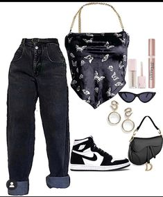 Baddie Outfits Casual, Cute Comfy Outfits, Kpop Fashion Outfits, Girls Fashion Clothes, Cute Fashion, Look Fashion, Stylish Outfits, Swag Outfits For Girls, Retro Outfits