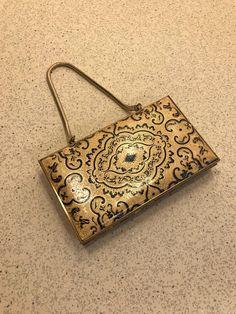 b8722c9ebf99 Vintage Box Compact Evening Bag Purse Goldtone Metal with Ornate Gold    Black Leather Sides Handbag Clutch Elegant Mid Century Retro Fashion