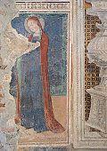 Madonna del Parto (or Madonna of Childbirth), by Master of the Madonna del Parto (or Madonna of Childbirth), 14th Century, fresco   Légende :  Italy; Lombardy; Bergamo; Sant'Agostino church